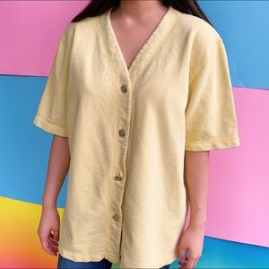Coffee Cup Yellow Button Up
